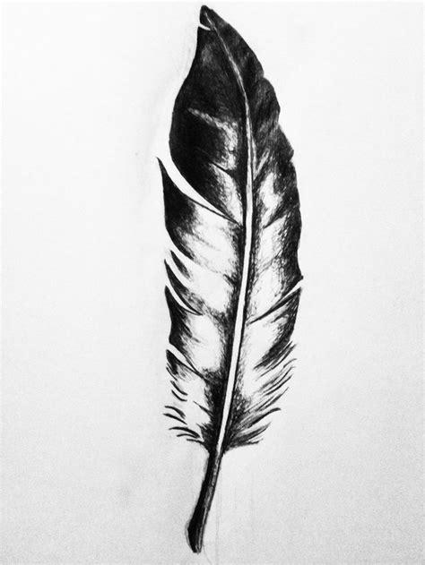 simple black white eagle feather tattoo design