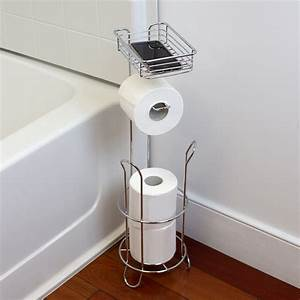 Free, Standing, Dispensing, Toilet, Paper, Holder, With, Built-in, Accessory, Tray, Silver