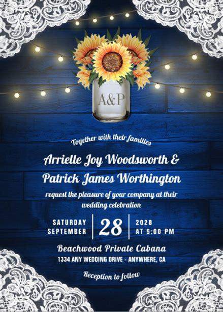 wood royal blue  sunflower wedding invitations