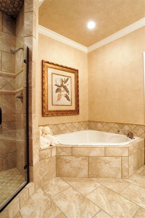 corner soaking tub with tile surround ideas for home