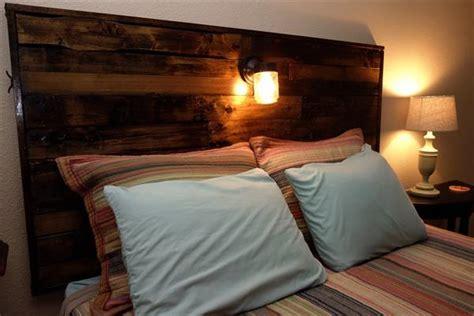 diy pallet headboard  lights pallet furniture plans