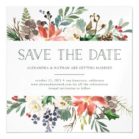 Botanical Christmas Floral Holiday Save the Date