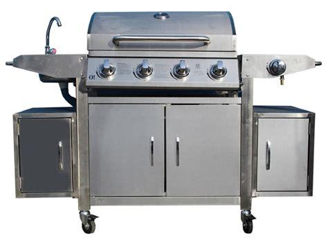 barbecue gaz bruleur inox barbecue 224 gaz 5 br 251 leurs inox avec 233 vier de haute qualit 233