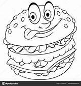 Hamburger Burger Coloring Cheeseburger Colouring Depositphotos Illustration Vector Sybirko sketch template