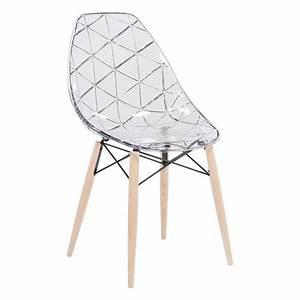 Chaise Plastique Transparente : chaise design coque transparente et bois prisma 4 pieds tables chaises et tabourets ~ Melissatoandfro.com Idées de Décoration