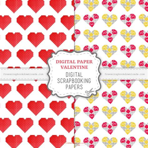 digital paper valentine scrapbook papers  scrapbook