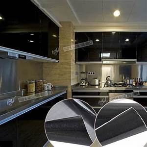 gloss white black kitchen unit vinyl cover up film fablon With kitchen colors with white cabinets with fish ruler sticker