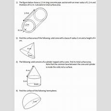 Find The Surface Area Of Solids (iv)(worksheets And Solutions