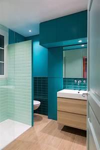 Salle d39eau bleu turquoise avec douche italienne laurence for Salle de bain design avec décoration de table exotique
