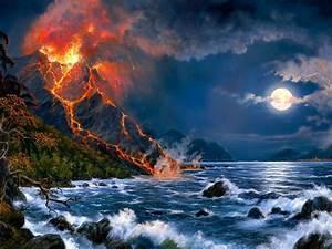 Eruption Of Volcano Sea Full Moon Fantasy Art Hd Wallpaper ...