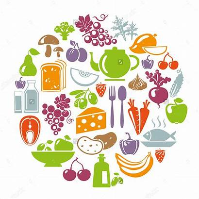 Healthy Illustration Vegetables Vector Circle Icons Concept