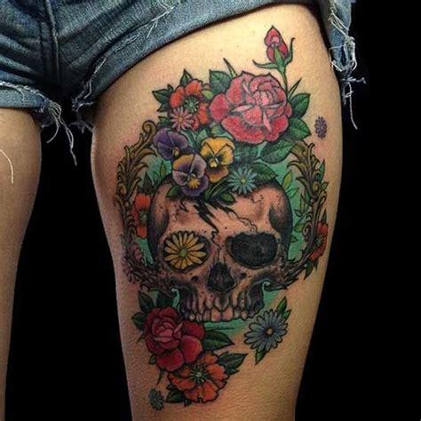 lucky thigh tattoo  skull thigh tattoo  tattoochiefcom