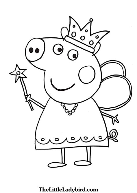 peppa pig queen coloring page thelittleladybirdcom