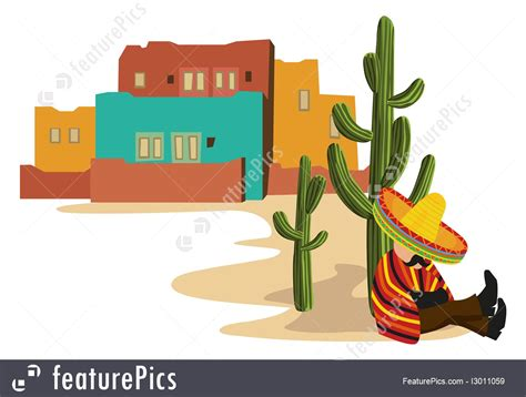illustration  mexican village