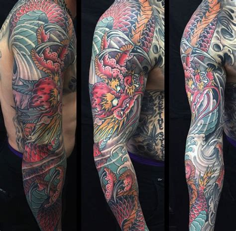100 Dragon Sleeve Tattoo Designs For Men  Fire Breathing