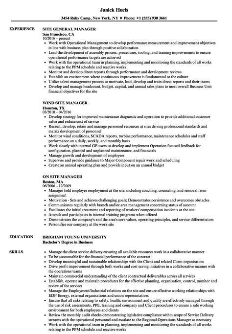 Manager, Site Resume Samples  Velvet Jobs