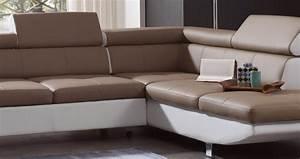 DECO IN PARIS Canape d angle design convertible taupe et blanc luca luca taupe blanc conv