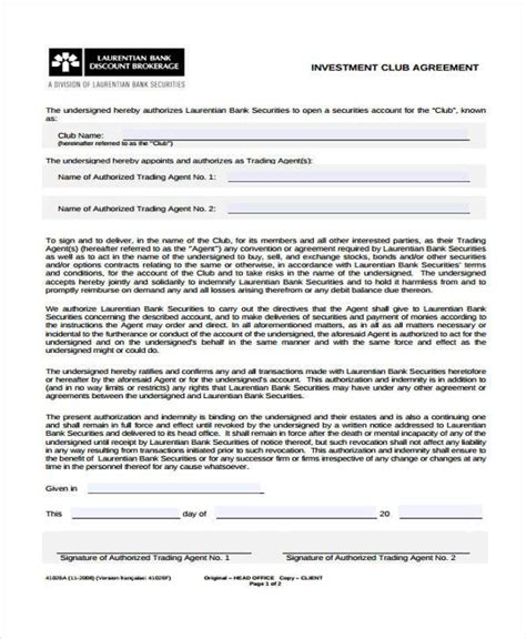 how to form an investment group 7 investment club agreement form sles free sle