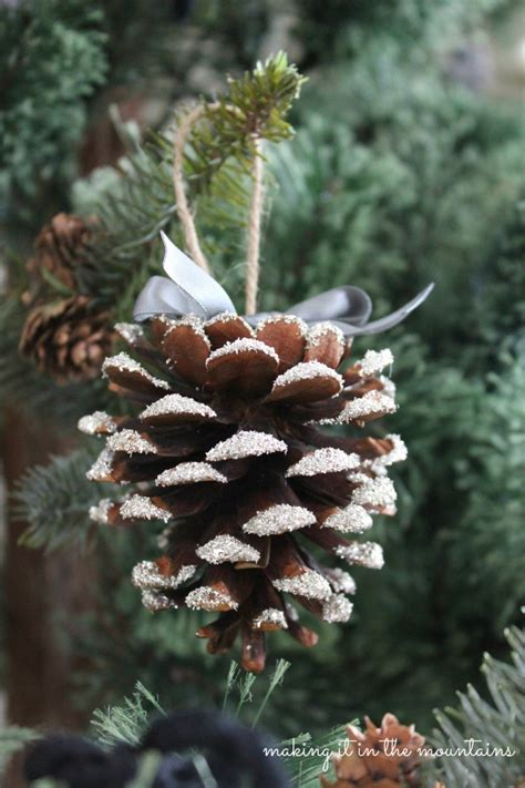 glass glitter pine cones making    mountains