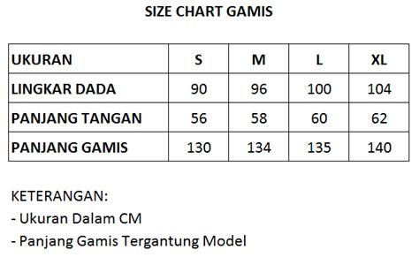 size chart gamis  baju koko panduan dropship bandros