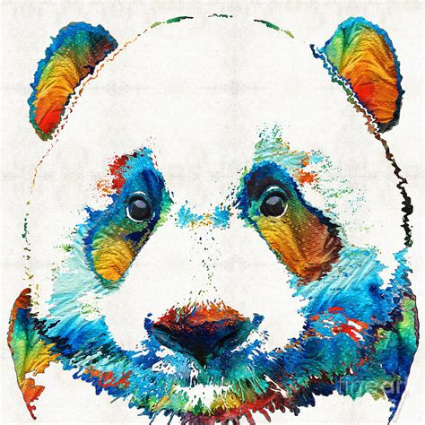 colorful panda by painting by