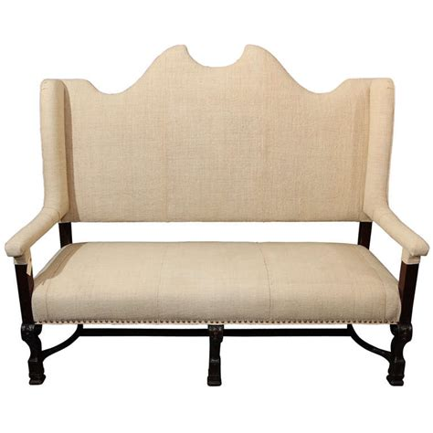 High Back Settee Sale by High Back Settee In Linen At 1stdibs