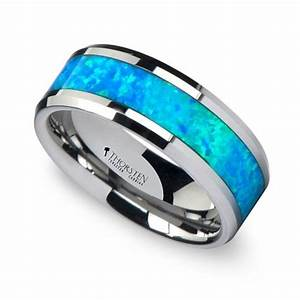 blue green opal inlay men39s wedding ring in tungsten With mens opal wedding rings