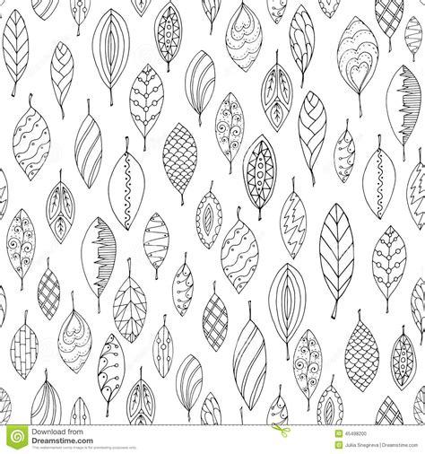 autumn white  black seamless stylized leaf stock vector