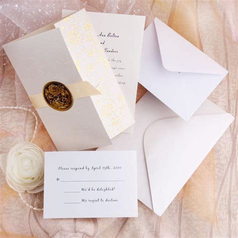 affordable wedding invitation sets gold embossed floral deco tri fold wedding invitation sets ewri011 as low as 1 39