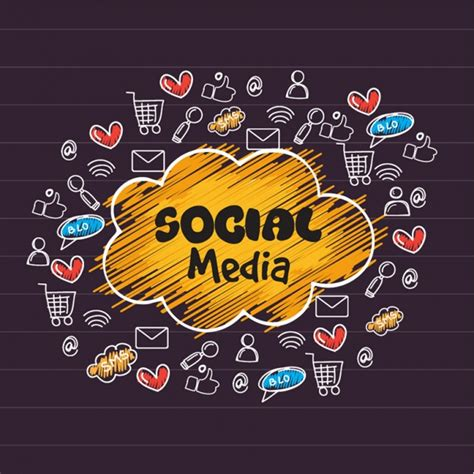 Social Media Background Social Media Background With Icons Vector