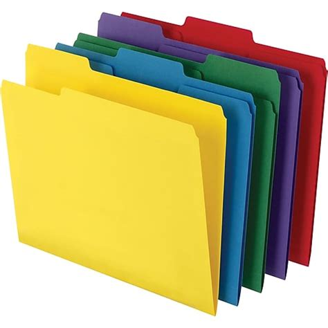 Staples® Colored Toptab File Folders, 3 Tab, 5 Color