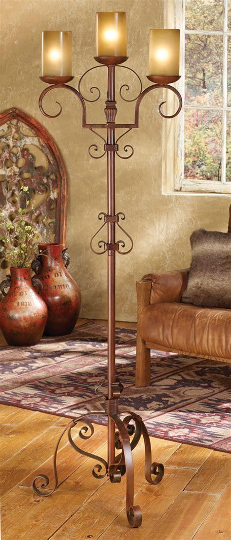 iron scroll floor lamp  amber glass shades