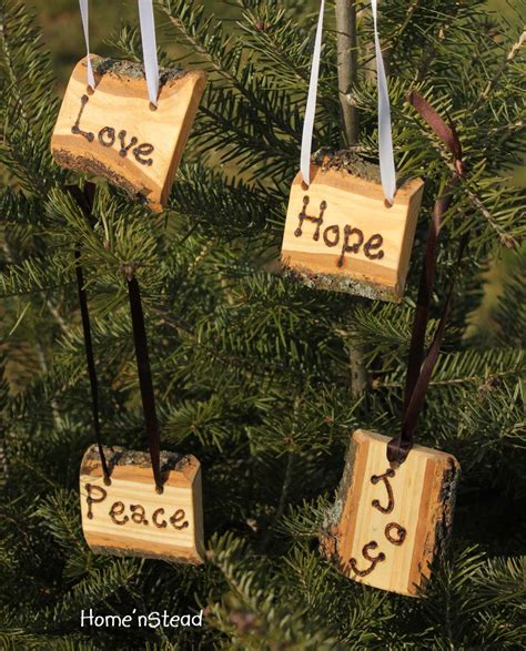 rustic country christmas ornament set of 4 hope by