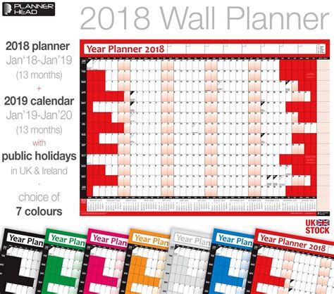 wall calender yearly year planner annual chart calendar monthly