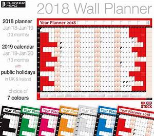 2018 Wall Planner Calendar Year Planner Wall Chart With