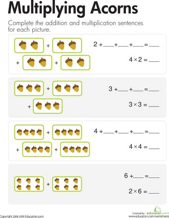 Multiplication Add & Multiply Acorns  Multiplication, Worksheets And Math
