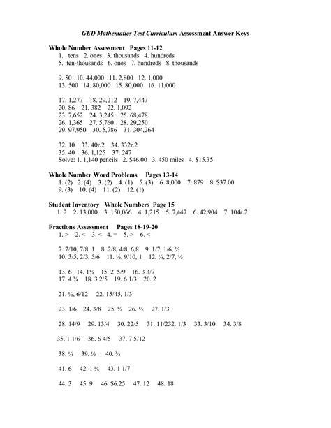 Free Ged Math Practice Worksheets  Free Printable