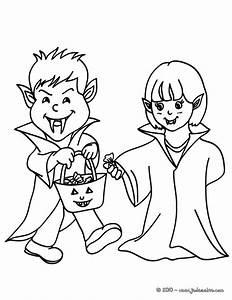 Dessin Halloween Vampire : coloriages 2 enfants deguises en vampire ~ Carolinahurricanesstore.com Idées de Décoration