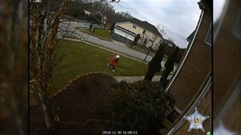 young girl caught  camera stealing package  md front