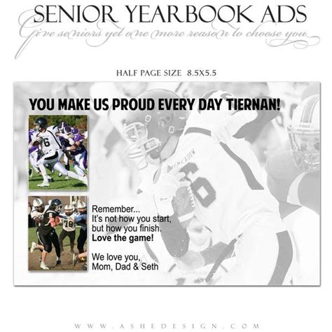 senior yearbook ads  photoshop game day ashedesign
