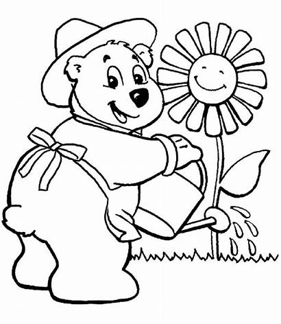 Coloring Garden Pages Gardening Flower Watering Printable