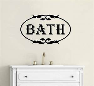 Bathroom wall decor vinyl decal wall sticker words for Bathroom vinyl lettering wall art