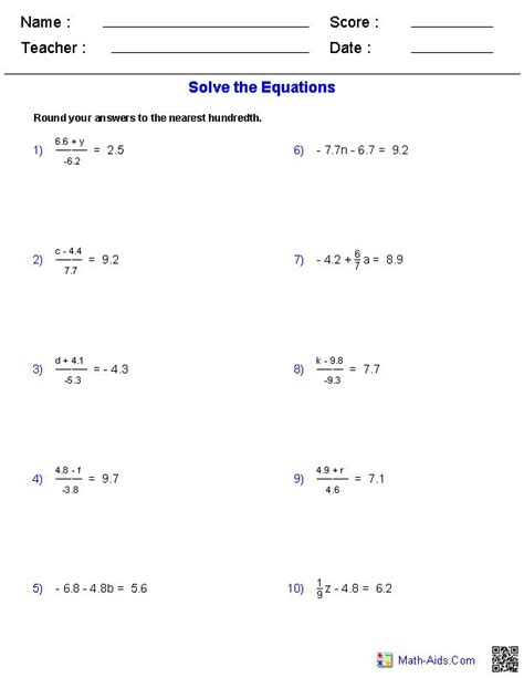 two step equations worksheets containing decimals math aids algebra worksheets algebra