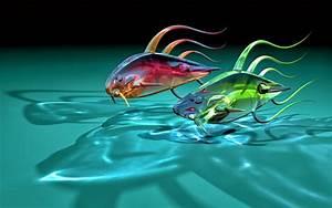 Fondos de pantalla abstractos: Fondo peces rojo y verde agua
