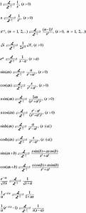 Listing of Laplace and Inverse Laplace Transforms