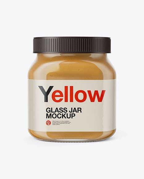 1 month free trial download. Glass Jar with Peanut Butter Mockup - Front View Jar Mockups