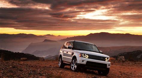 range rover white car sunset mountain hd wallpaper