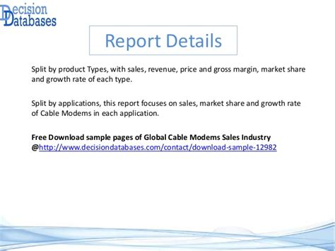 Global Cable Modems Sales Market Report 2016