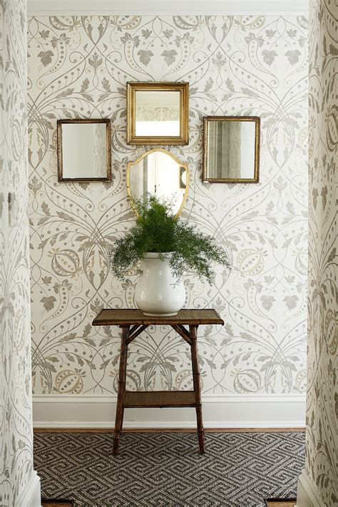 lovely turquoise wallpaper designs  framed mirrors potted plant