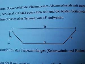 Querschnitt Berechnen : tiefbauamt erh lt die planung eines abwasserkanals mit trapezf rmigem querschnitt mathelounge ~ Themetempest.com Abrechnung